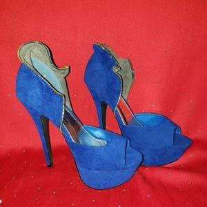 Liliana Blue suede heels